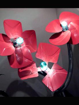 Fan Flower Lamp by Ron Simmer: Sculptor